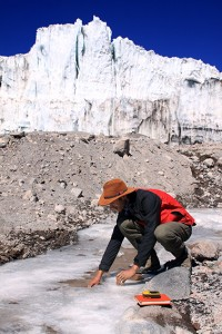Sampling meltwater on Coropuna Peru photo by Gordon Bromley